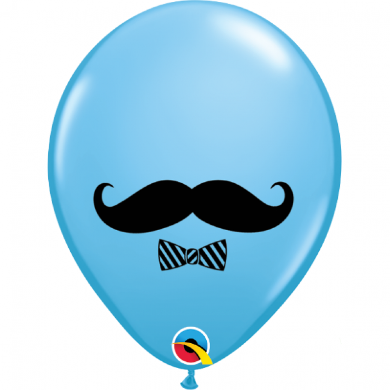 11'' Moustache and Bow Tie Pale Blue Round Latex Balloon