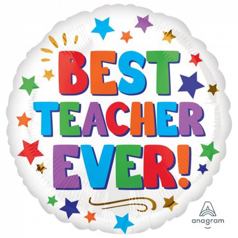 18″ Best Teacher Ever Stars Round Foil Balloon
