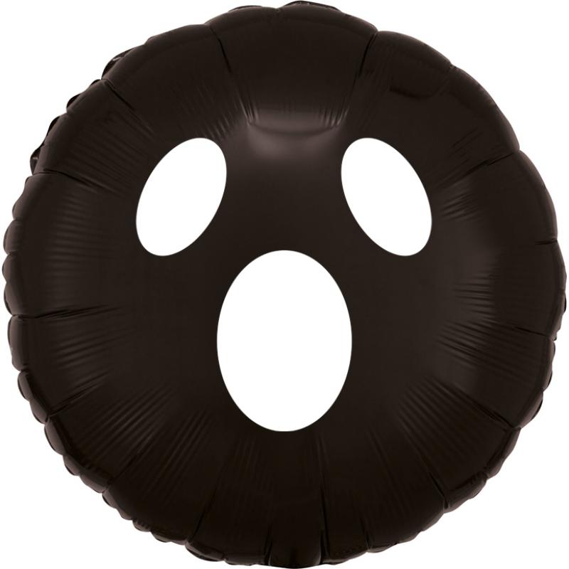 "18"" Boo Face Metallic Black Round Foil Balloon"