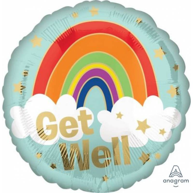 18″ Get Well Gold Stars and Rainbow Round Foil Balloon