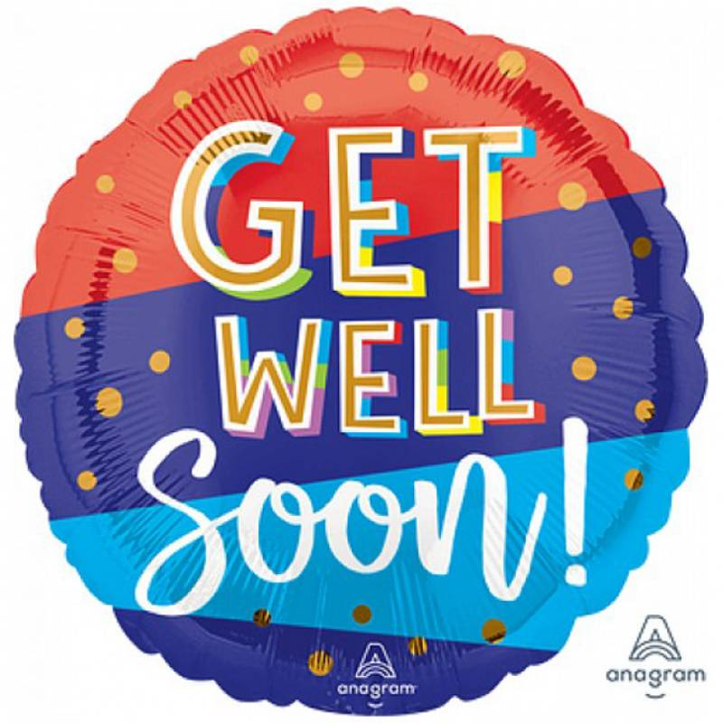 18″ Get Well Soon Dots and Stripes Round Foil Balloon