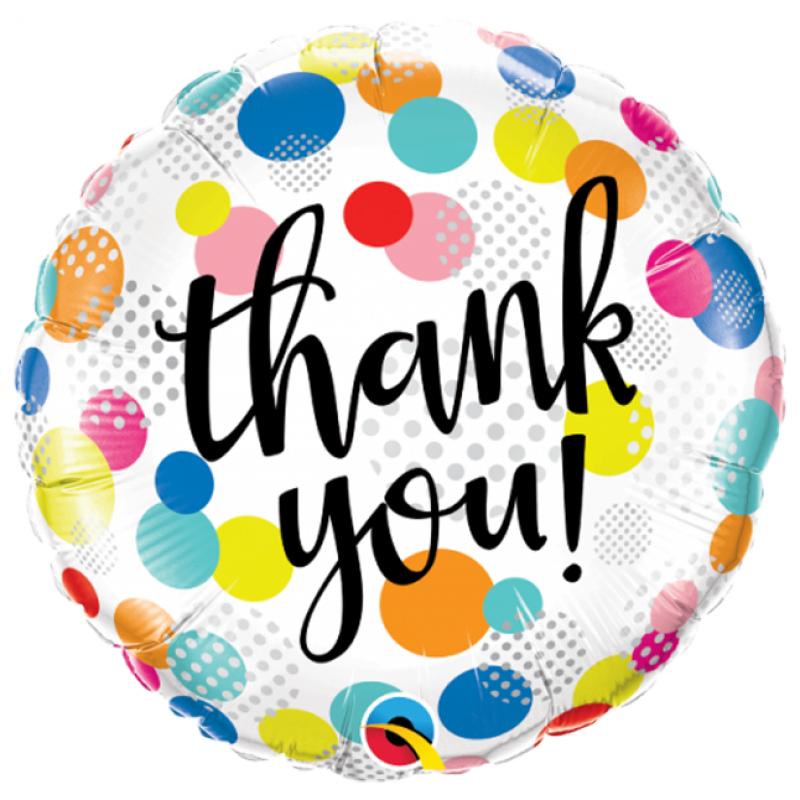 18″ Thank You Dots Round Foil Balloon