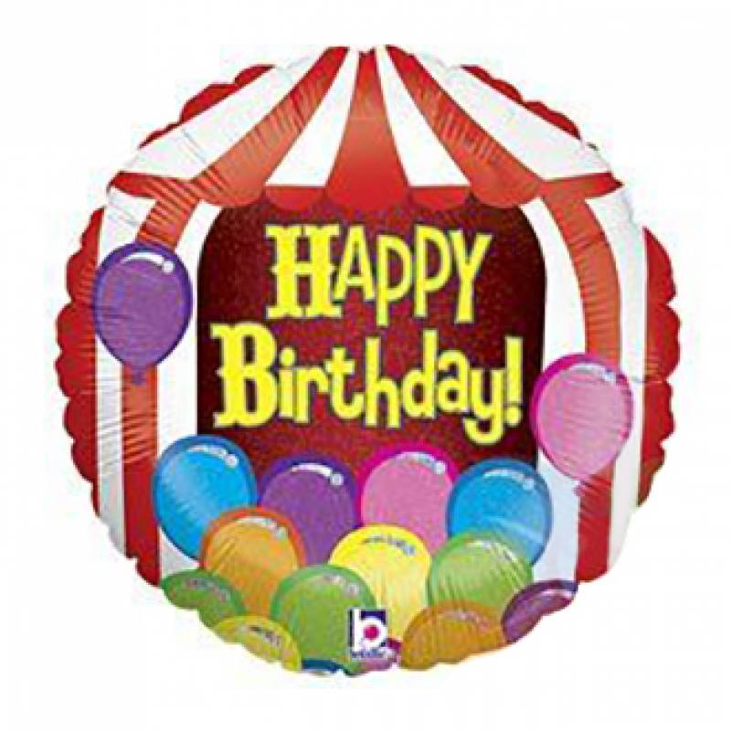 18'' Happy Birthday Circus Tent Round Foil Balloon