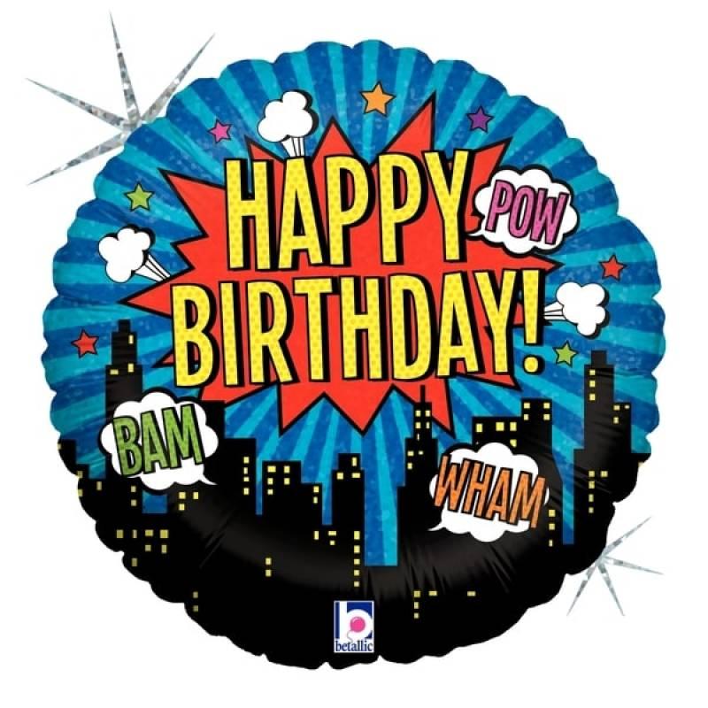 18'' Happy Birthday Comic Superhero Round Holographic Foil Balloon