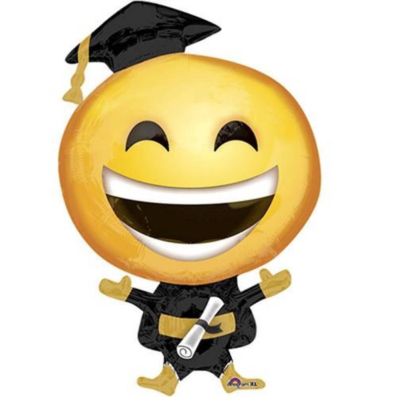 23'' x 35'' Happy Grad Emoticon Shape Foil Balloon