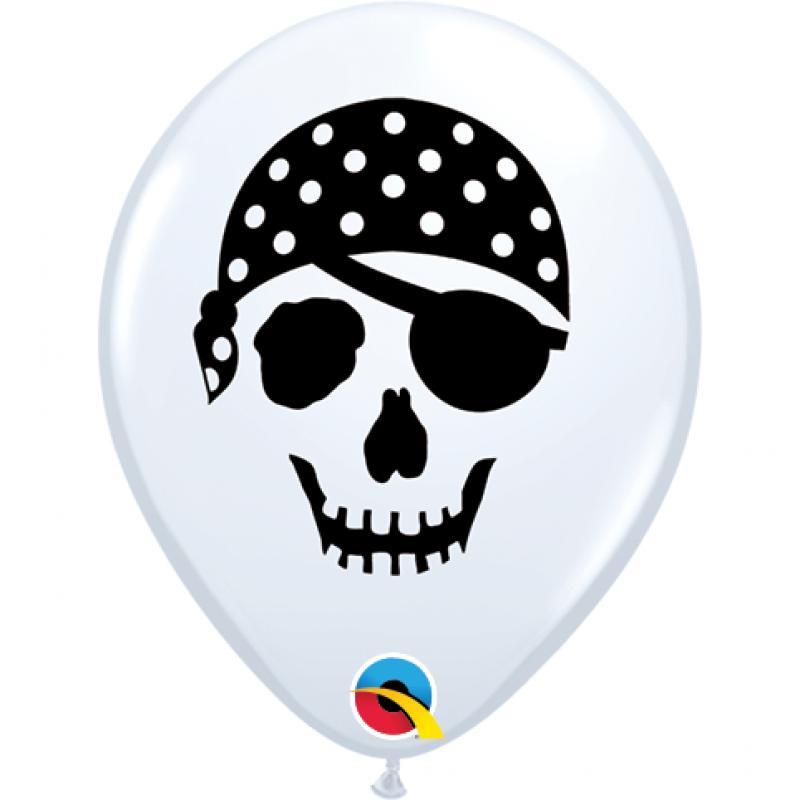 5'' Pirate Skull White Round Latex Balloon