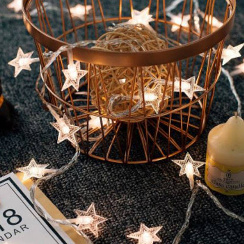5m Star Shape Warm Yellow LED String Lights