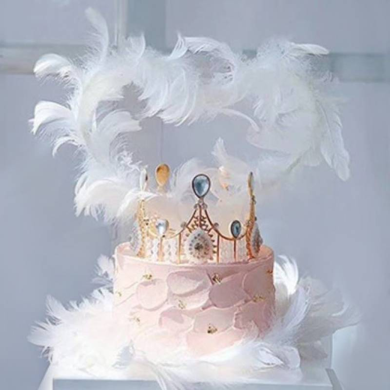 Angel Feathers Heart Shaped Cake Topper