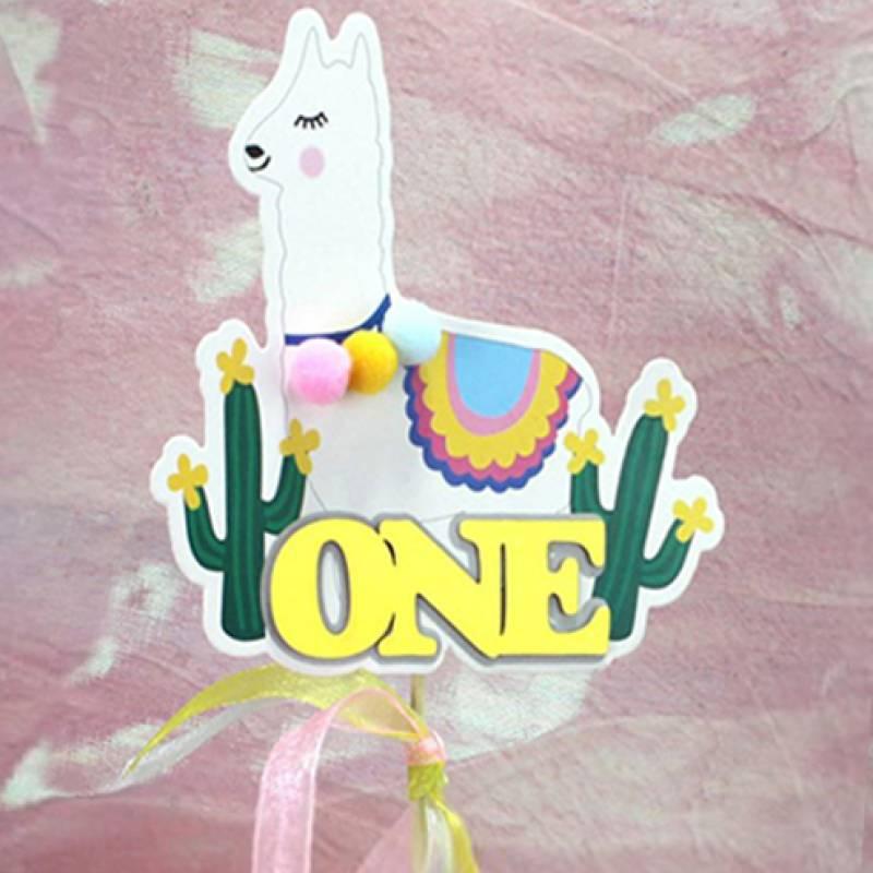 Baby's 1st Birthday Llama Cake Topper