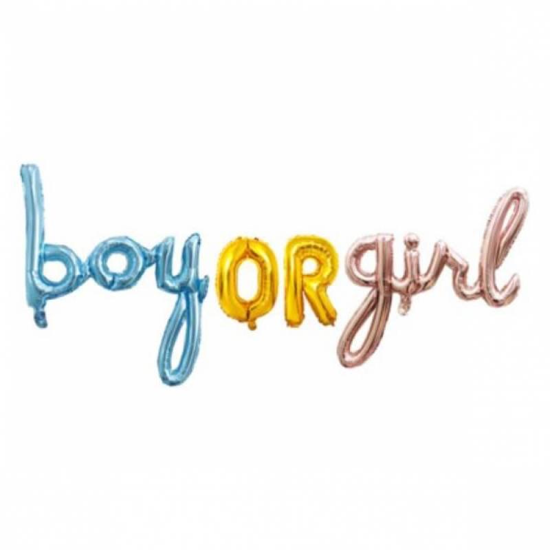 Boy Or Girl Script Foil Balloon Set