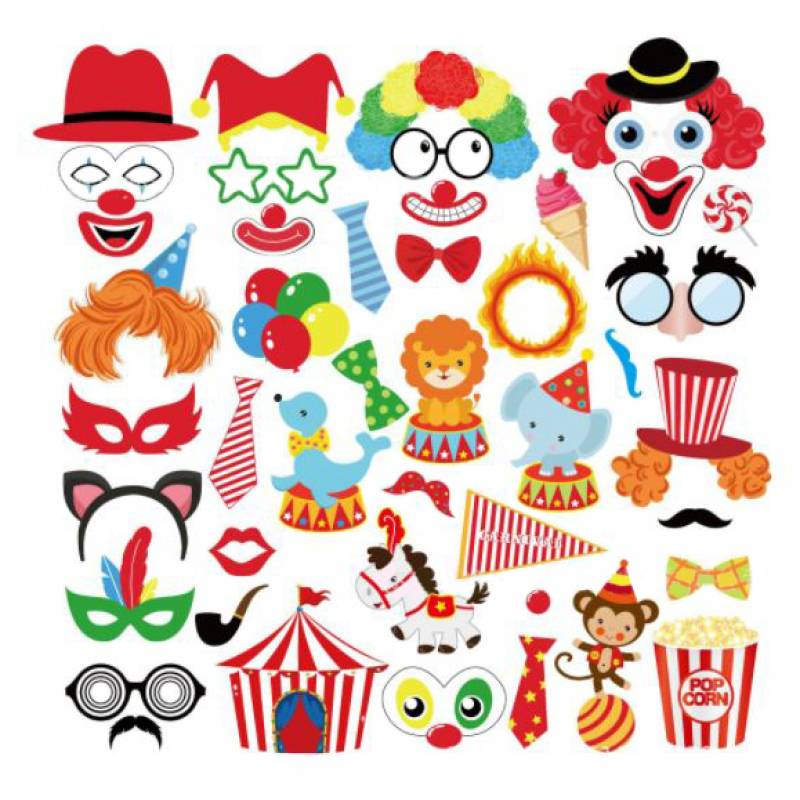 Circus Carnival Family Photobooth Prop Set