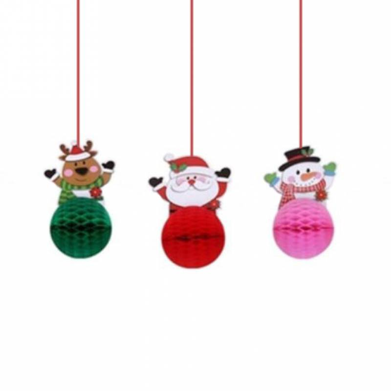 Christmas Santa Reindeer and Snowman Paper Honeycomb Party Decoration Set