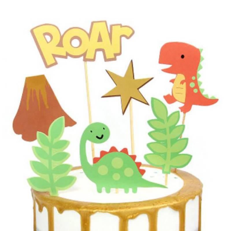 Cute Dinosaurs Cake Topper Set