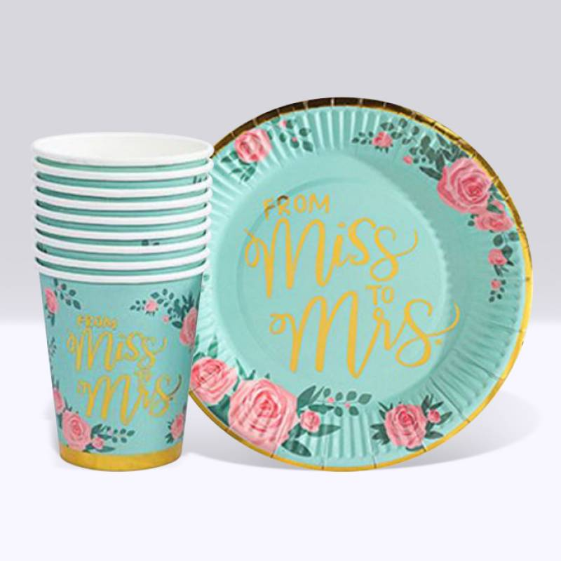 From Miss. to Mrs. Roses Paper Cup and Plate Set