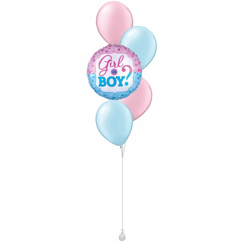 Gender Reveal Round Foil Balloon Bouquet