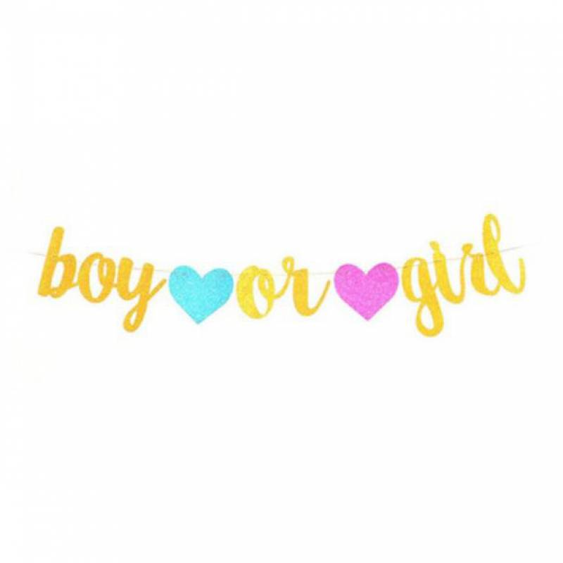 Gold Boy or Girl Blue and Pink Hearts Bunting