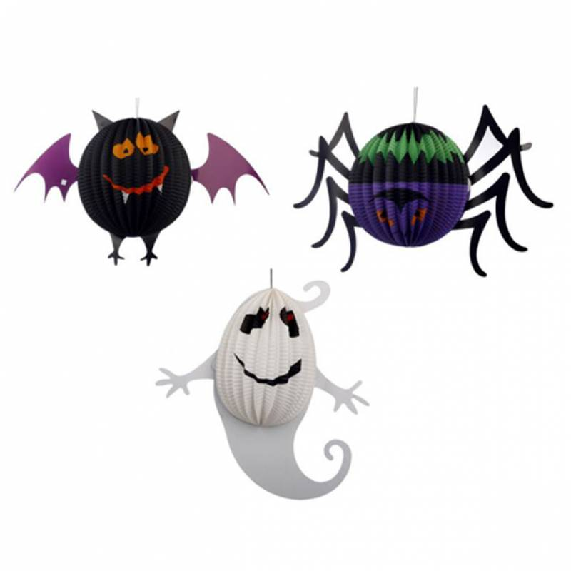 Halloween Ghost Bat Spider Paper Honeycomb Party Decoration Set