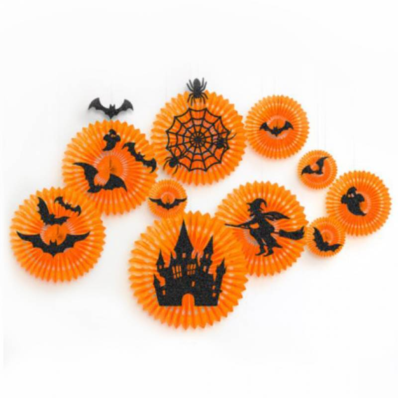 Halloween Haunting Round Paper Fan Set