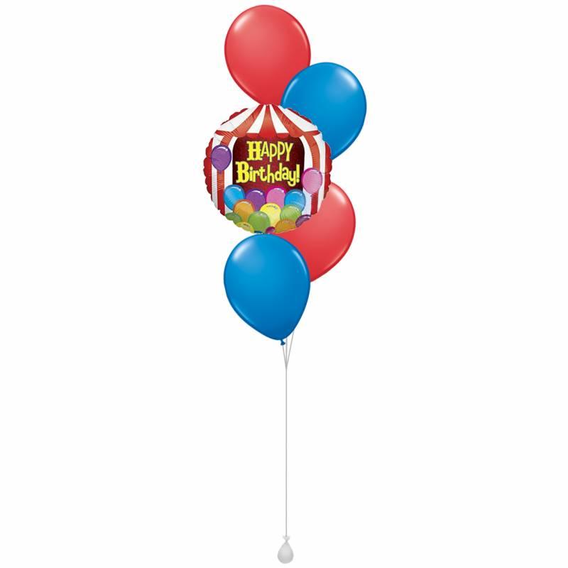 Happy Birthday Circus Tent Round Foil Balloon Bouquet