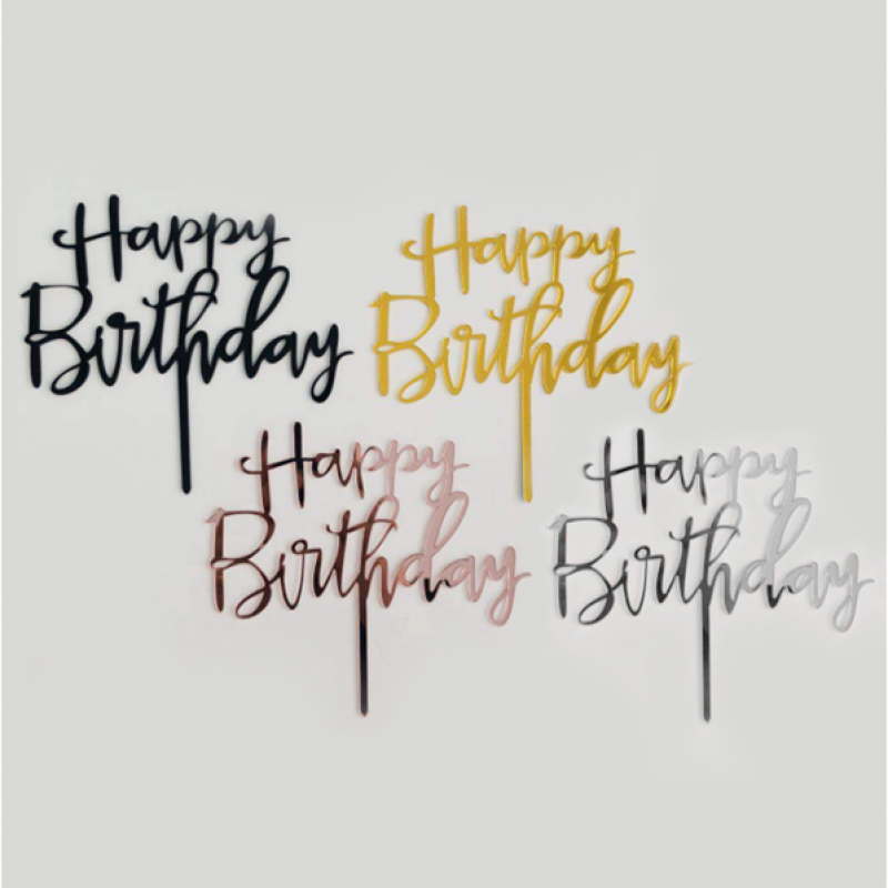 Happy Birthday Cursive Style Cake Topper