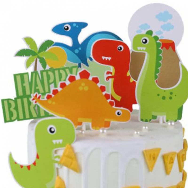 Happy Birthday Dinosaurs Cake Topper Set