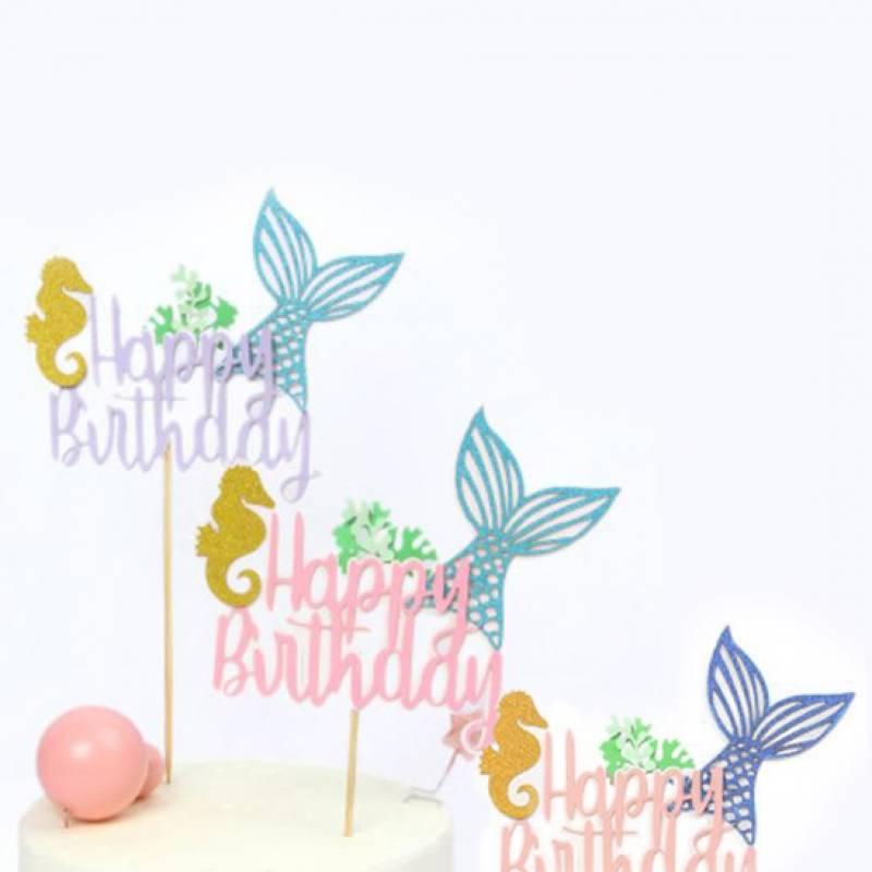 Happy Birthday Mermaid's Tail Cake Topper