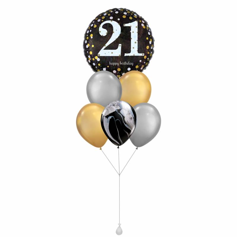 Happy Birthday (21) Sparkles Round Foil Balloon Bouquet
