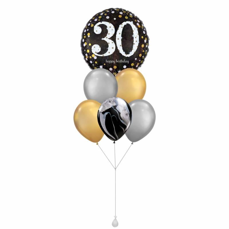 Happy Birthday (30) Sparkles Round Foil Balloon Bouquet