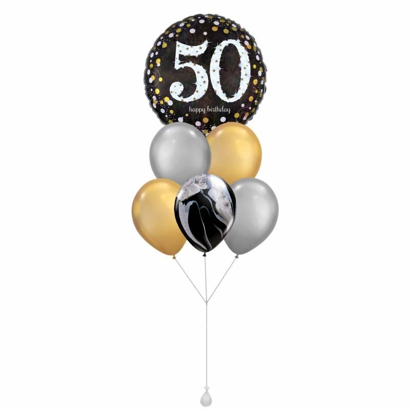 Happy Birthday (50) Sparkles Round Foil Balloon Bouquet