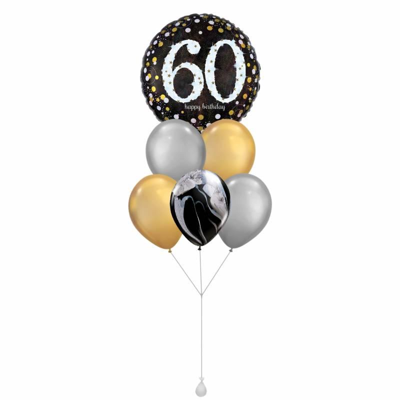 Happy Birthday (60) Sparkles Round Foil Balloon Bouquet