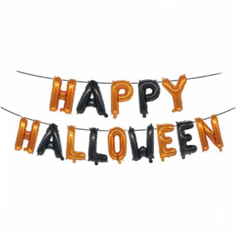 Happy Halloween Orange and Black Alphabet Foil Balloon Set