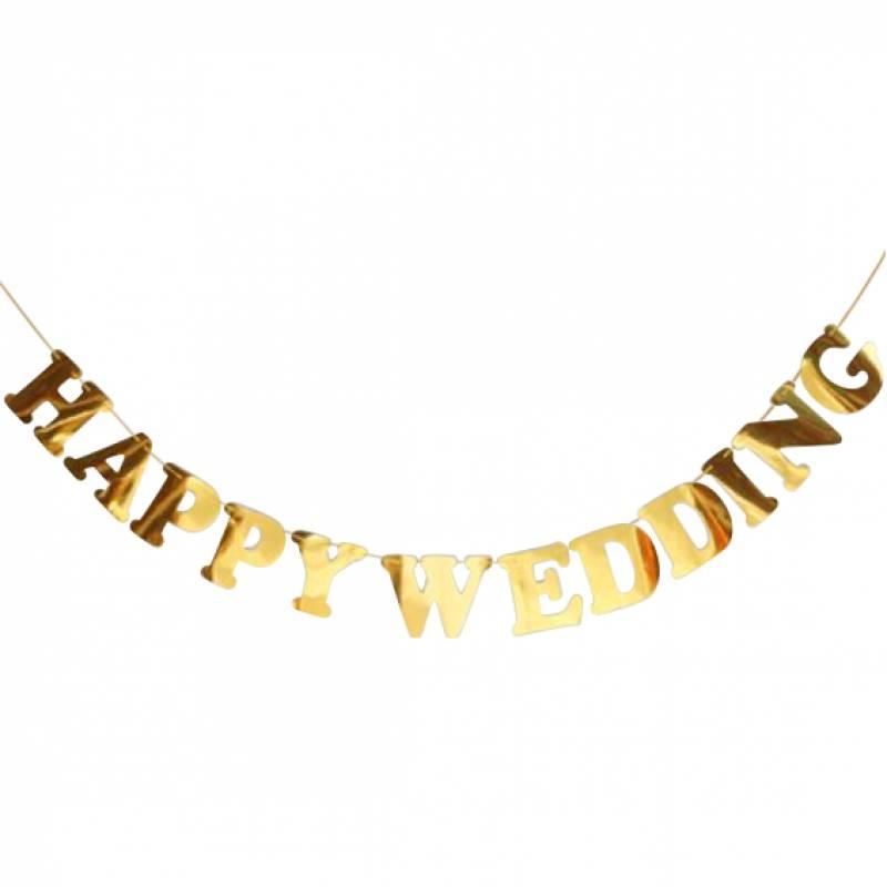 Happy Wedding Gold Bunting
