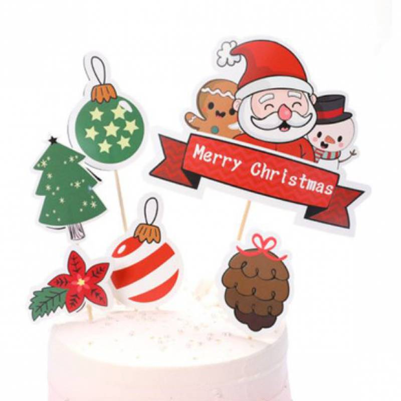 Merry Christmas Santa and Friends Cake Topper Set