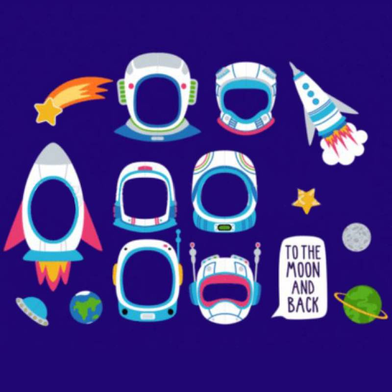 Astronauts and Space Photobooth Prop Set