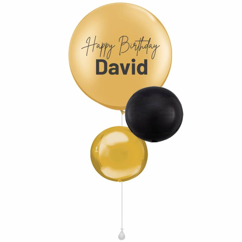 Personalised Gold Round Latex Balloon Bouquet