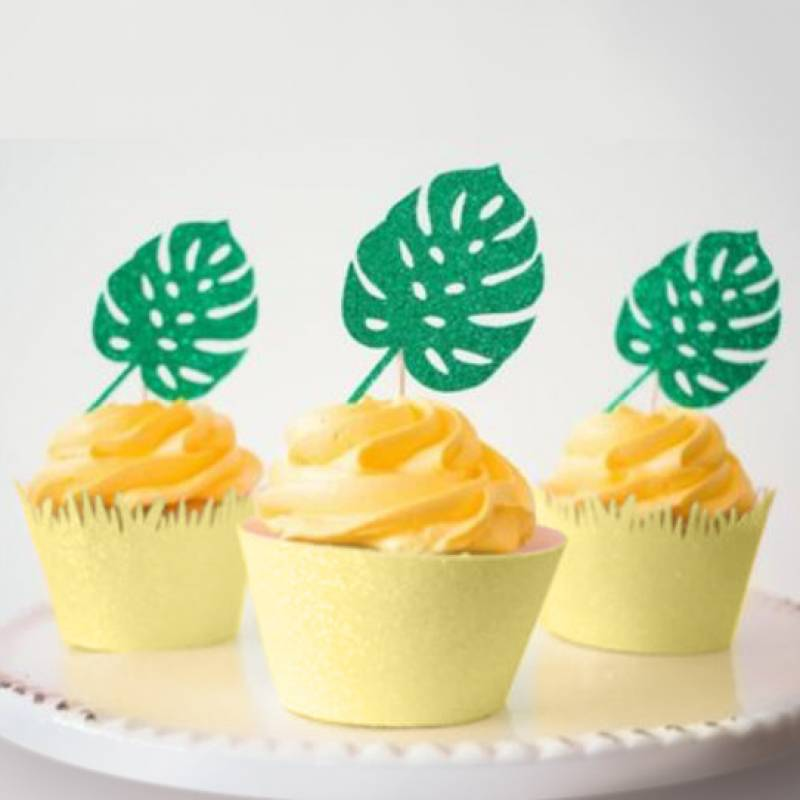 Philodendron Leaf Cupcake Topper Set