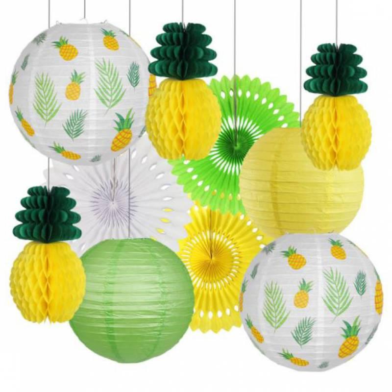Pineapple Paper Honeycomb Party Decoration Set