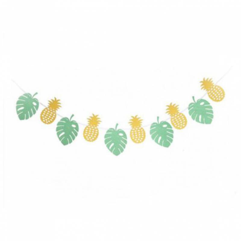 Pineapples and Philodendron Leaves Bunting