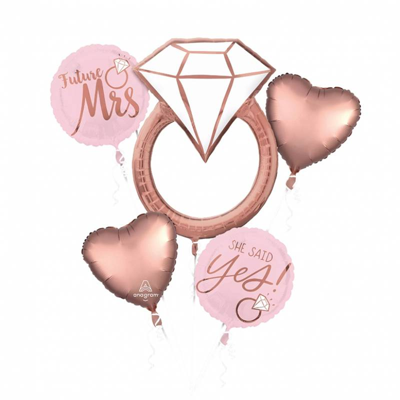 Rose Gold Engagement Ring Balloon Bouquet
