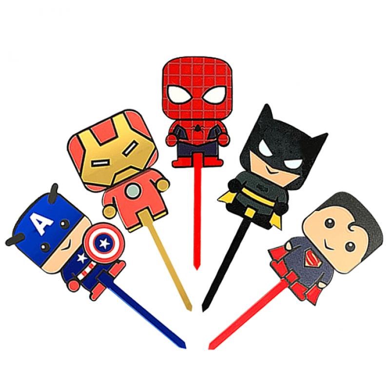 Adorable Superhero Acrylic Cupcake Topper Set