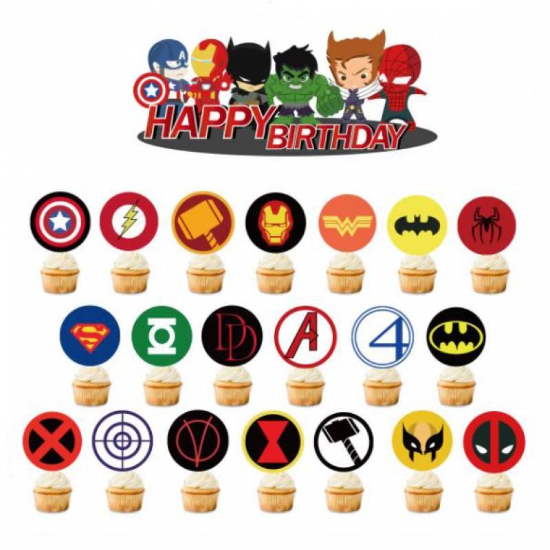 Happy Birthday Superhero Icons Cupcake Topper Set