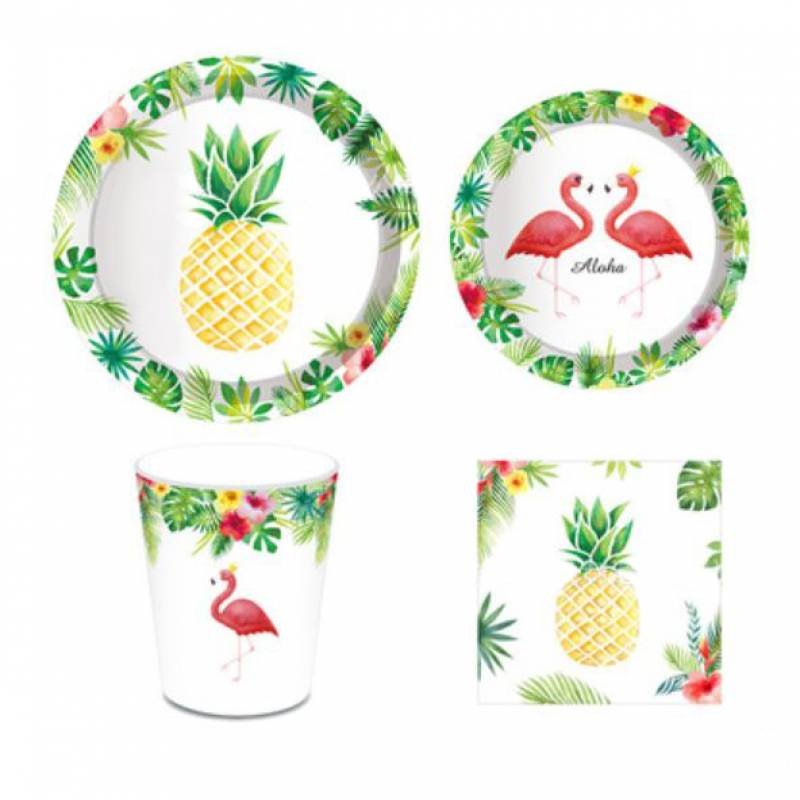 Tropical Party Paper Cup and Plate Set
