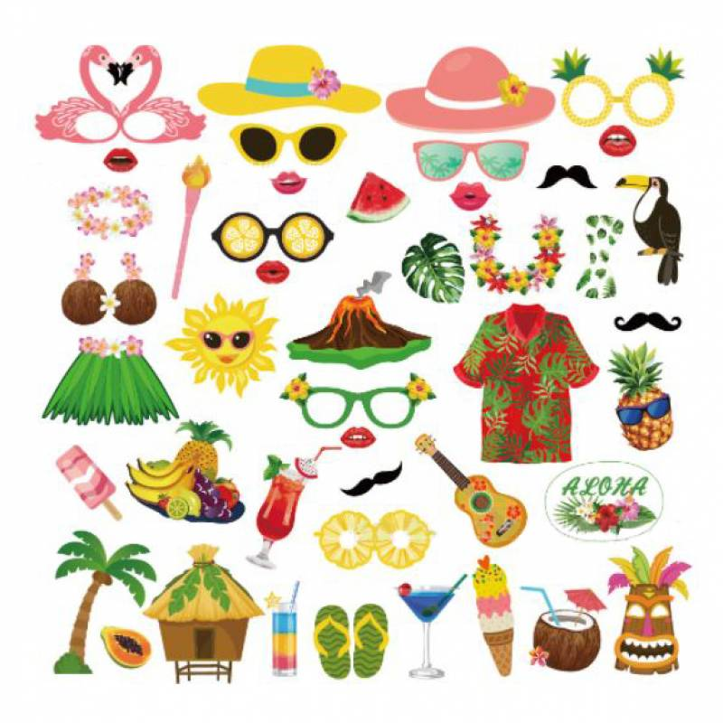 Tropical Party Photobooth Prop Set