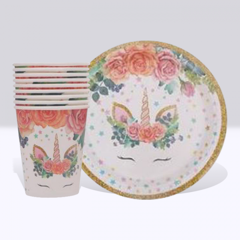 Unicorn Rosy Paper Cup and Plate Set