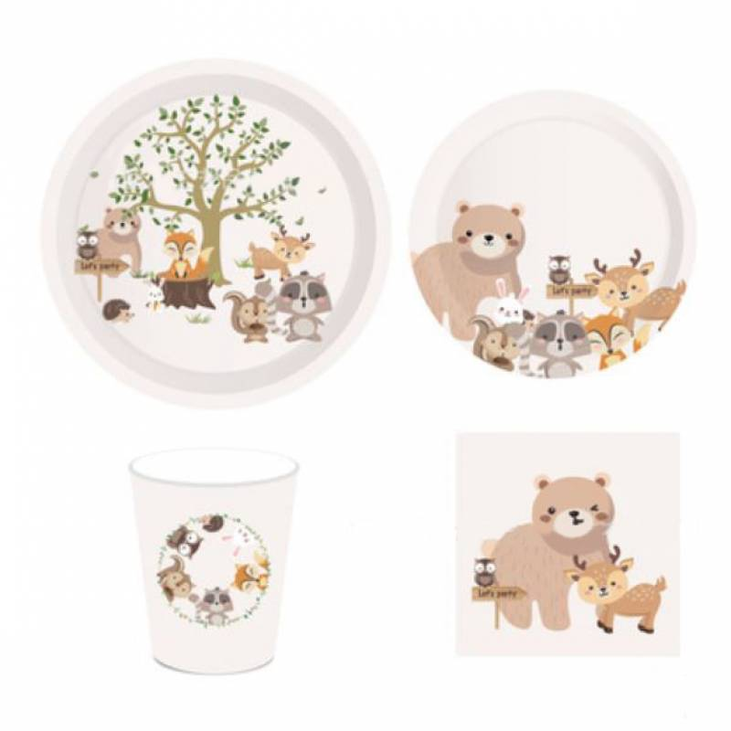 Woodland Animal Village Paper Cup and Plate Set
