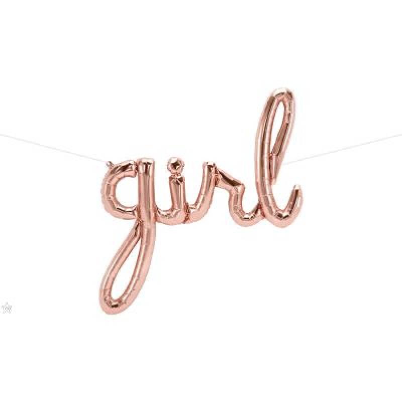 37'' Rose Gold Girl Script Foil Balloon