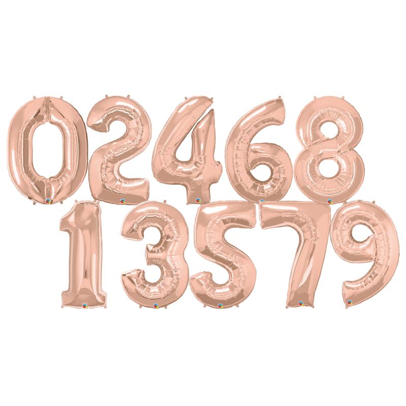 """40"""" Rose Gold Number Shape Foil Balloon"""