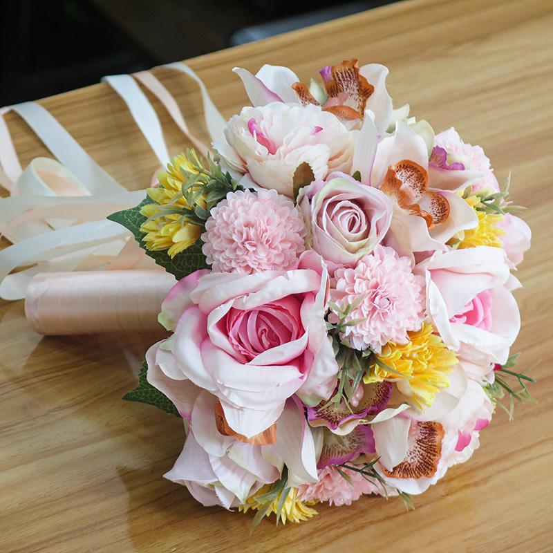Artificial Sweet Peach Pink Flowers Bridal Bouquet