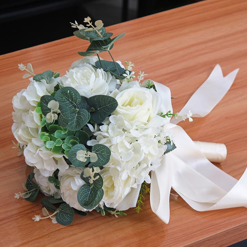 Artificial Classic White Roses Bridal Bouquet